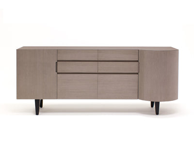"Vintage - Modern 74"" Light Gray Executive Desk with Angled Wenge Legs"