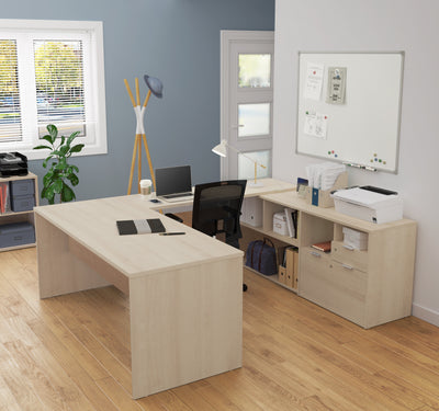 Modern U-Shaped Office Desk in Northern Maple with Credenza