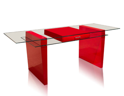 "Modern 79"" Glass & Red Lacquer Executive Desk"