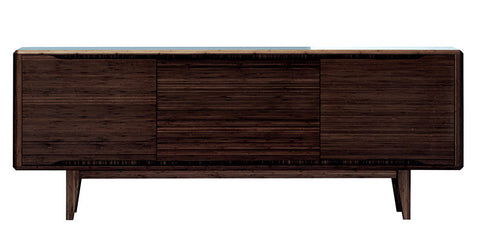 "Solid Bamboo 72"" Elegant Credenza in Dark Walnut Finish"