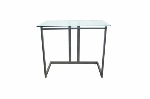 "Modern 35"" Computer Desk with Clear Glass Top"
