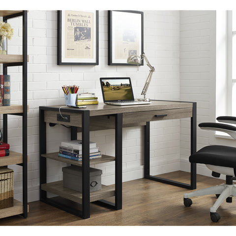 "48"" Modern Computer Desk with Shelves & Built-In Plugs in Driftwood Finish"