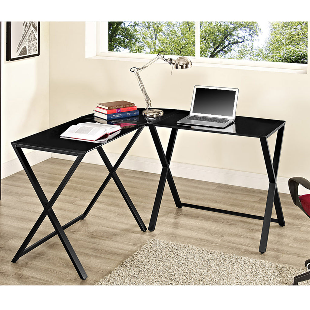 Modern Steel X-frame Glass Office Desk in Black