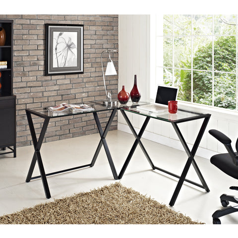 Modern X-frame Computer Desk with Black Frame & Clear Glass