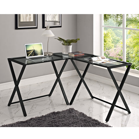 Modern X-frame Office Desk with Black Frame & Smoky Glass