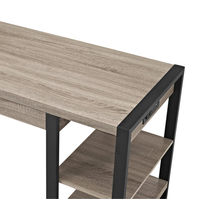 "60"" Modern Desk with Built-In Plugs in Driftwood Finish"