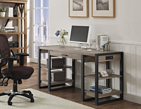 "60"" Modern Desk with Shelves & Built-In Plugs in Driftwood Finish"