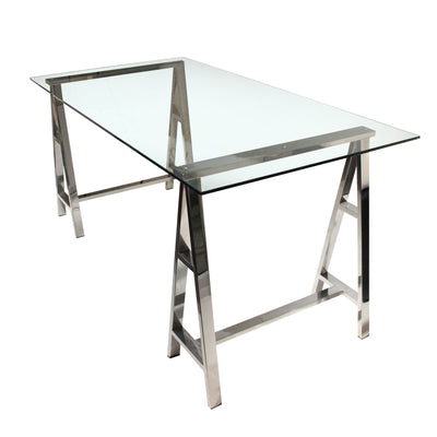 "59"" Clear Glass & Stainless Sawhorse Style Office Desk"