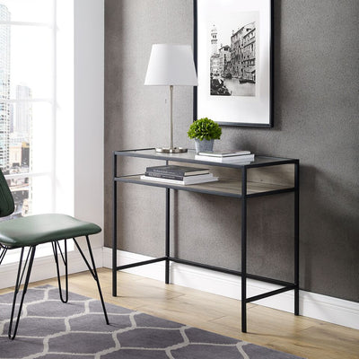 "33"" Metal & Grey Wash Office Desk w/ Glass Top"