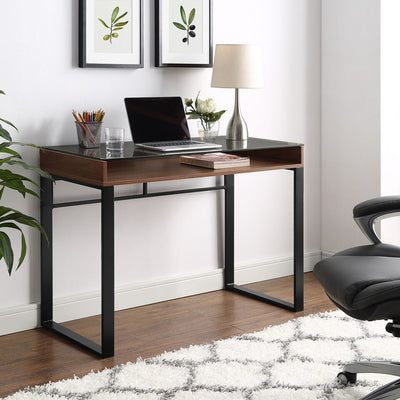 "42"" Urban Industrial Dark Walnut Office Desk w/ Glass Top"