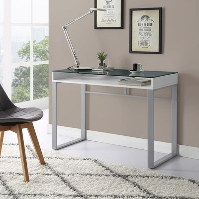"42"" Urban Industrial White Office Desk w/ Glass Top"