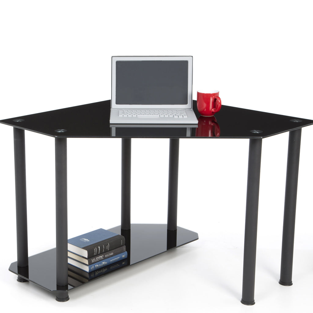 Corner Black Glass Workstation Officedesk Com