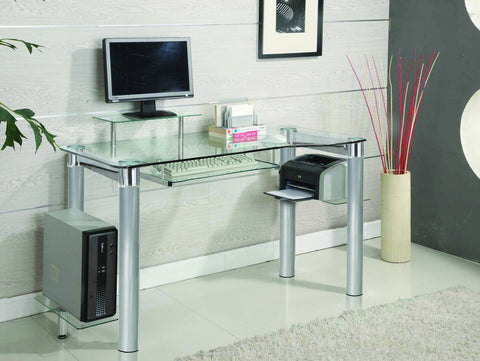 Clear Glass & Chrome Modern Executive Desk