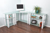 Modern L-shaped White Glass Desk with Shelved Extensions