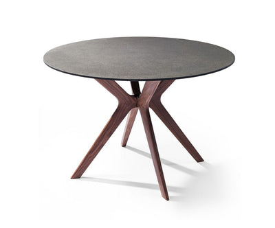 "48"" Round Meeting Table with Walnut Veneer Base"