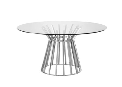"59"" Elegant Glass Top Meeting Table w/ Stainless Steel Base"
