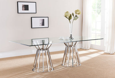 "90"" Modern Stainless Steel & Glass-Top Conference Table"