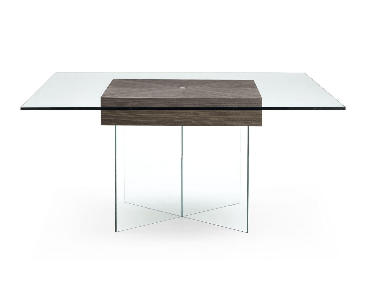 Square Clear Glass Meeting Table With Walnut Center OfficeDeskcom - Square meeting table
