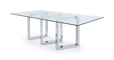 "87"" Stainless Steel and Glass Executive Office Desk or Conference Table"
