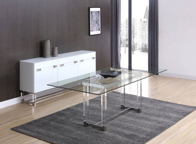 "87"" Clear Glass Executive Desk or Meeting Table"