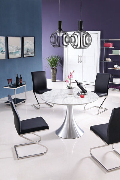"43"" Round Meeting Table of Marble & Stainless Steel"