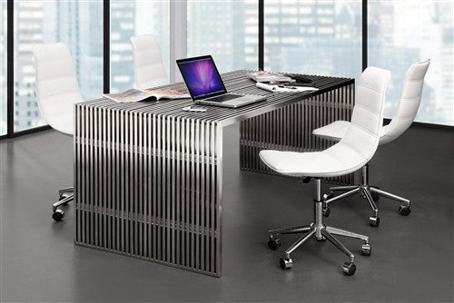 Novel 73 Quot Modern Stainless Steel Executive Desk With Glass