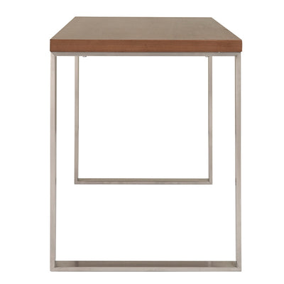 "48"" American Walnut & Brushed Stainless Steel Modern Desk"