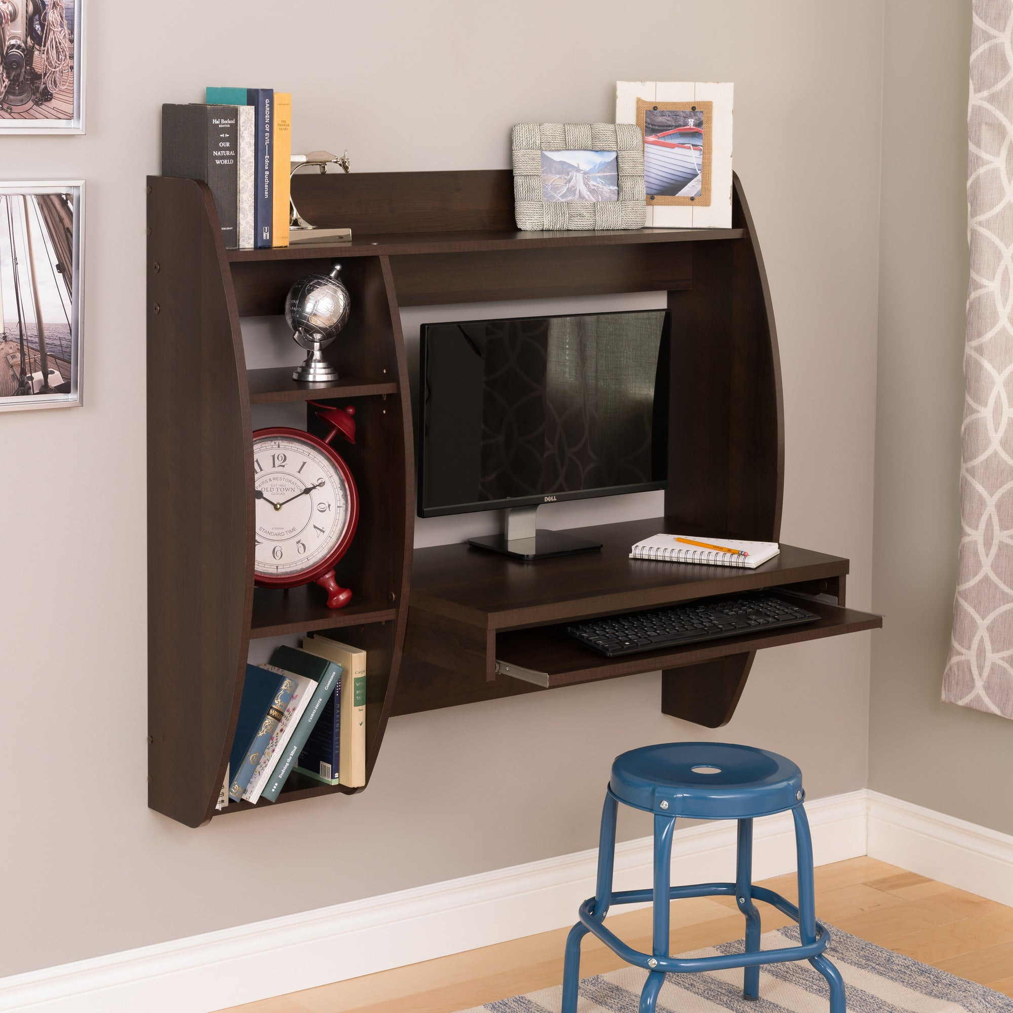 Beau Espresso Wall Mounted Office Desk With Keyboard Tray