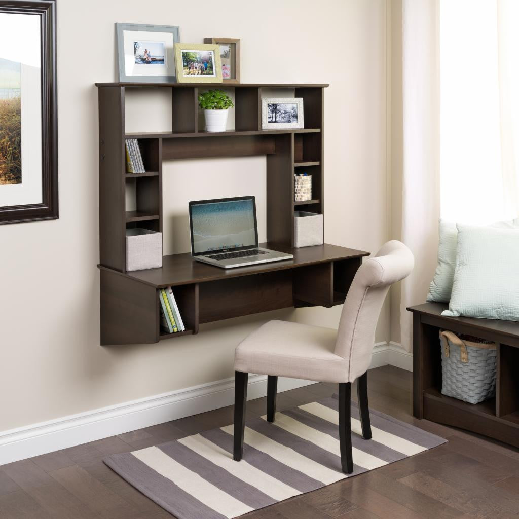 "Sleek 43"" Espresso Floating Wall Mounted Desk with Storage"