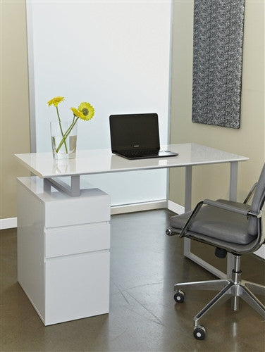 Tribeca 48 Modern White Desk With Integrated Drawers Officedeskcom