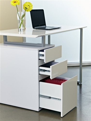 "Tribeca 48"" Modern White Desk with Integrated Drawers"