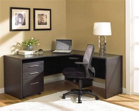 Premium Modern L-shaped Desk with Mobile File in Espresso