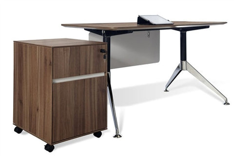 "300Collection 55"" Modern Walnut Desk and Matching Mobile File"