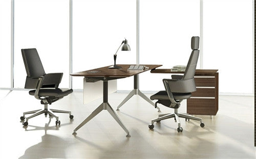 300Collection Modern Walnut L-shaped Desk with Integrated File