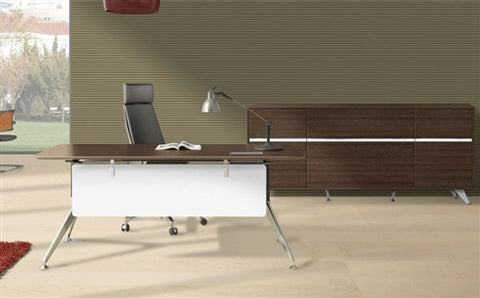 "300Collection 71"" Walnut Desk with Matching 63"" Credenza"