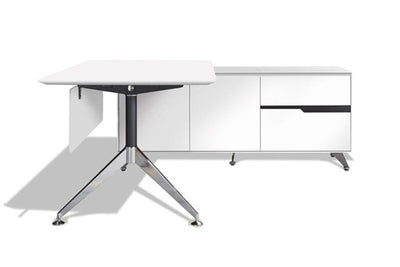 Modern White Lacquer L-shaped Executive Desk with Storage