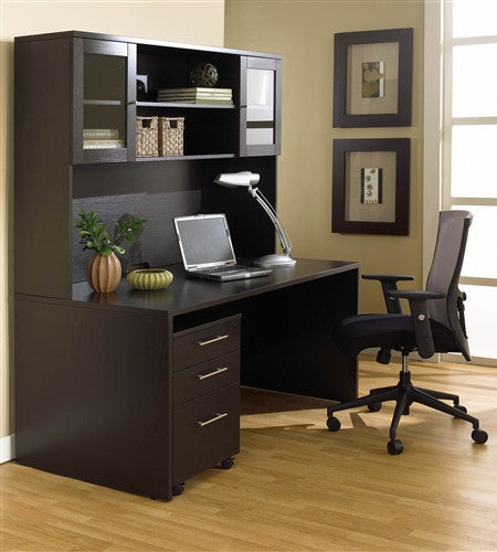 "63"" Modern Espresso Desk With Hutch & Mobile Pedestal"