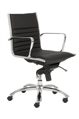 Dirk Black Leather & Chrome Low Back Modern Office Chair