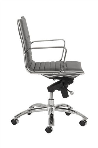 Low-Back Modern Office Chair in Gray Leatherette and Chrome by Euro Style
