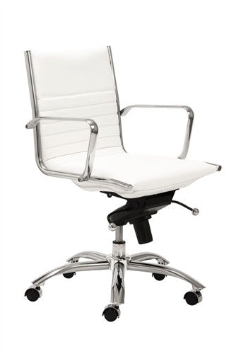 Dirk White Leatherette & Chrome Low Back Modern Office Chair