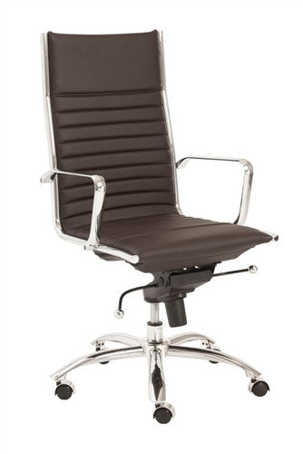 Dirk Brown Leather & Chrome High Back Modern Office Chair