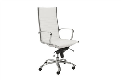 Dirk White Leather & Chrome High Back Modern Office Chair
