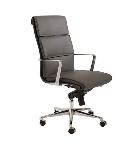 Leif Premium Modern Gray Leather & Chrome Executive Chair