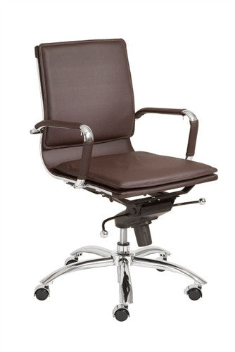 Gunar Low Back Brown Leather & Chrome Modern Office Chair
