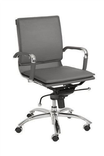 Gunar Low Back Gray Leather & Chrome Modern Office Chair