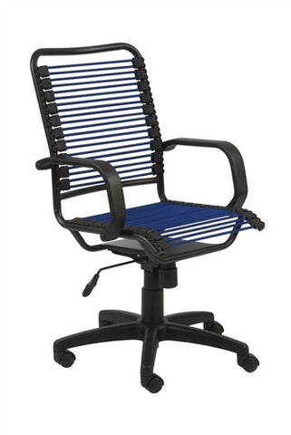 Bradley Collection Black Office Chair with Blue Bungee Supports