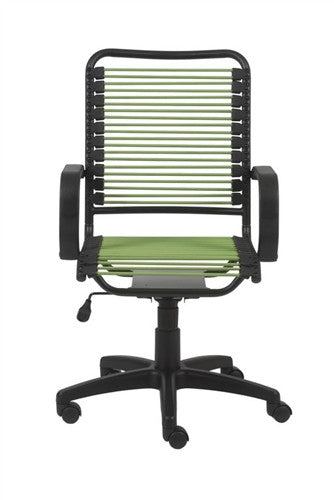 Bradley Collection Black Office Chair with Green Bungee Supports