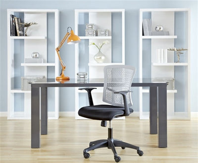"Modern Gray Lacquer 63"" Executive Office Desk"