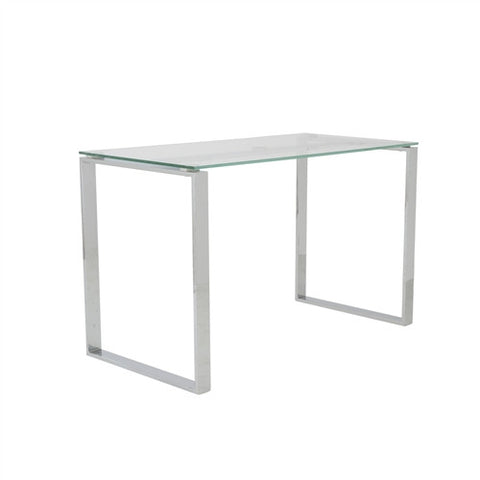 "Clear Glass & Chrome 48"" Modern Executive Office Desk"