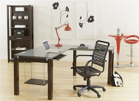Billings Premium Modern L-shaped Silver Glass Desk with Wenge Finish